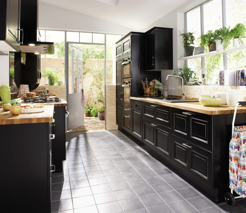 cuisine bistrot noir vieilli de lapeyre. Black Bedroom Furniture Sets. Home Design Ideas