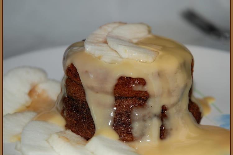 Petits fondants à la crème de marrons, pommes et crème anglaise