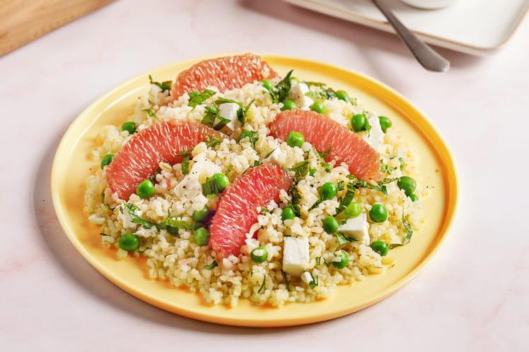 Salade de boulghour au pamplemousse de Floride, petit pois et feta