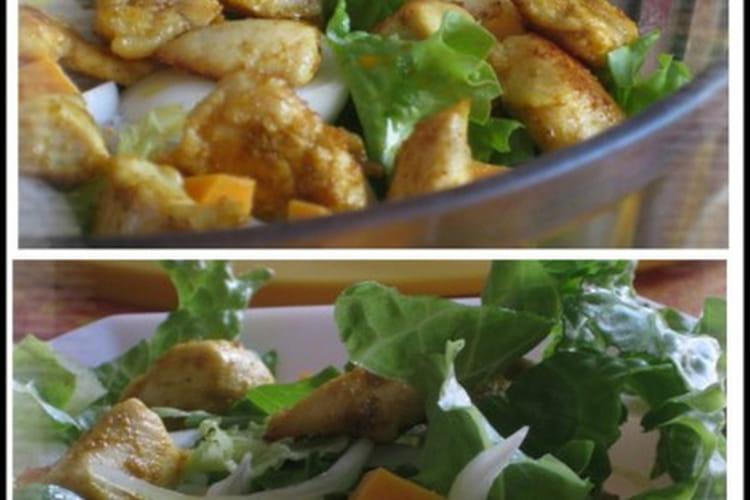Salade de poulet curry et mimolette