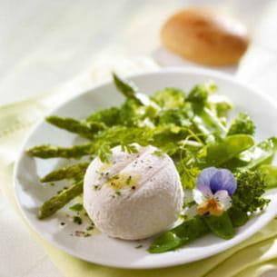 salade de crottin de chèvre aux pois gourmands et brocolis