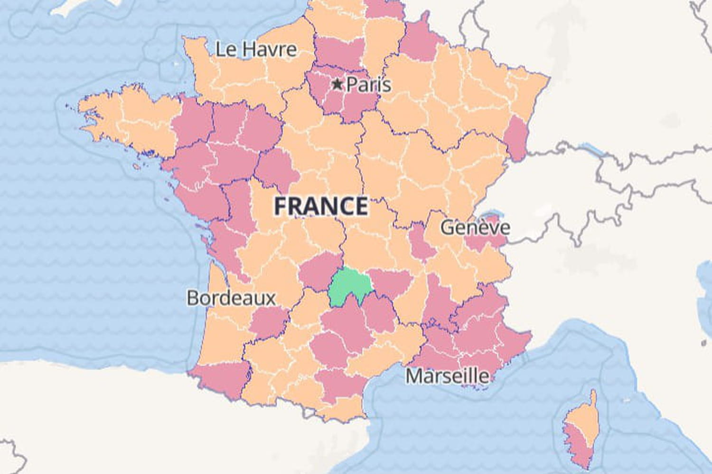 Carte Covid France: département, taux d'incidence, vaccination
