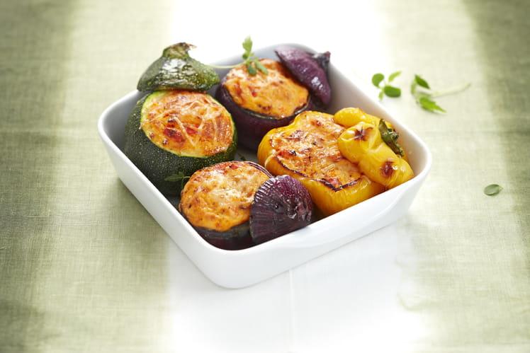 Légumes farcis au Fromage Fouetté et compotée de poivrons rouges