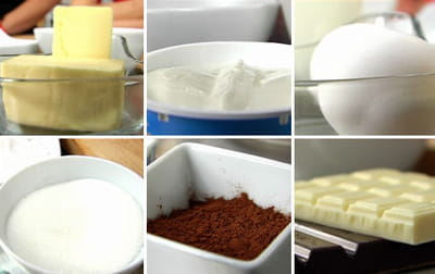 les ingrédients nécessaires pour réaliser les cupcakes red velvet.