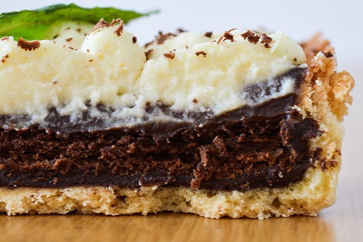 Tarte chocolat menthe et sa chantilly au chocolat blanc