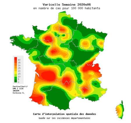 carte france varicelle épidemie
