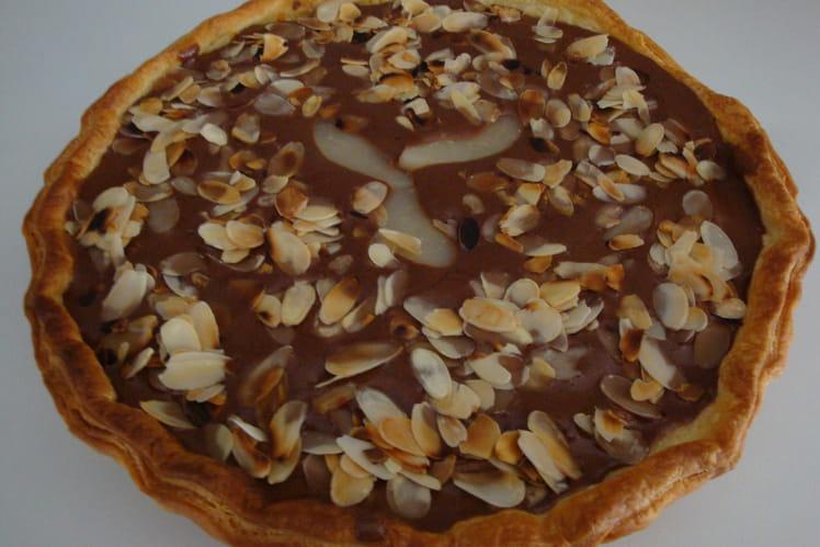 Tarte poires-chocolat aux amandes