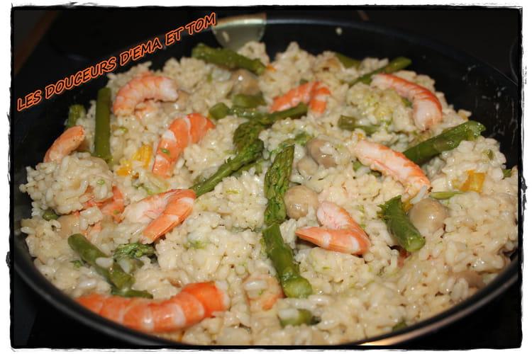 Risotto aux asperges et crevettes