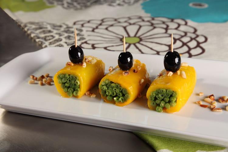 Recette de rouleaux de poivrons farcis aux haricots verts - Cuisiner les poivrons verts ...