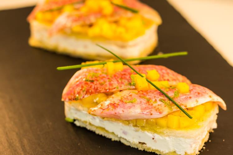 Canapé Mangue et filet de rouget