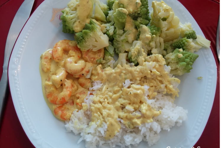 Crevettes au curry de Madras