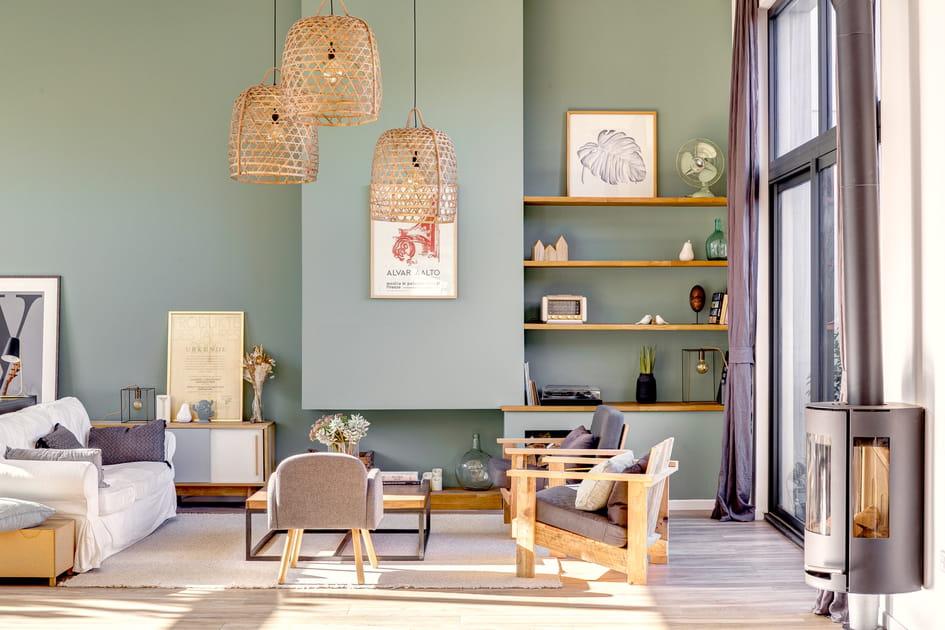 Un salon entre vert et bois