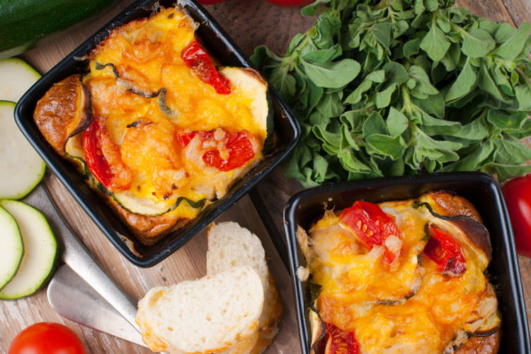 Clafoutis tomates, courgettes, mozzarella