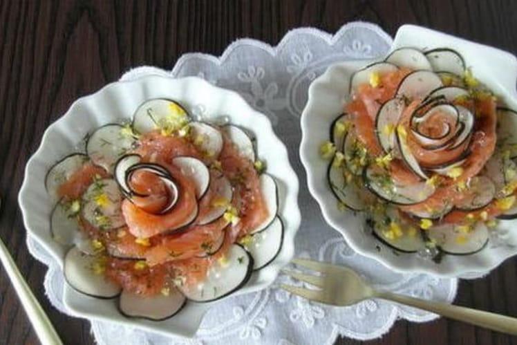 Fleur de saumon gravlax au radis noir