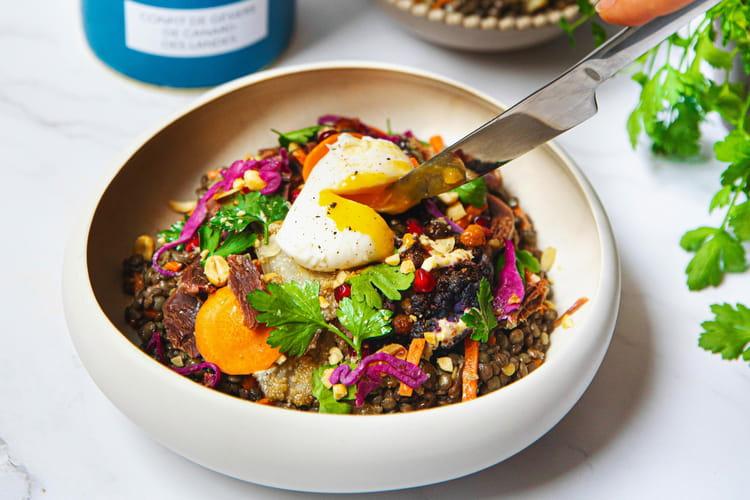 Salade de la terre : lentilles aux gésiers de canard confits