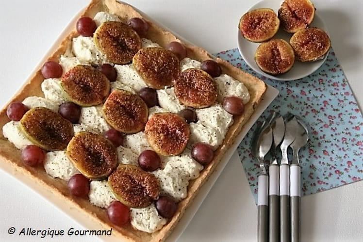 Tarte à la mousse de mascarpone- verveine, figues-raisins, Bio, sans œufs ni gluten