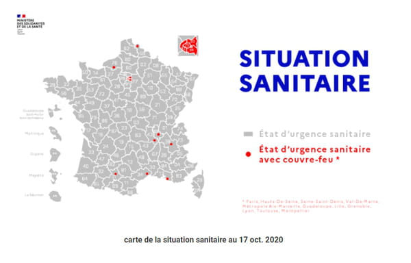 Carte des villes de france en état d'urgence et avec un couvre-feu au 17 octobre