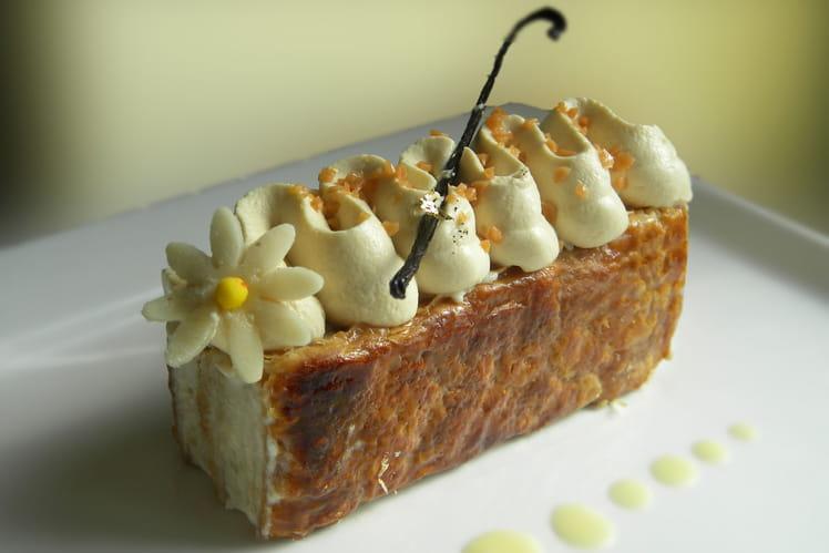 Millefeuille banane, chantilly de caramel au beurre salé