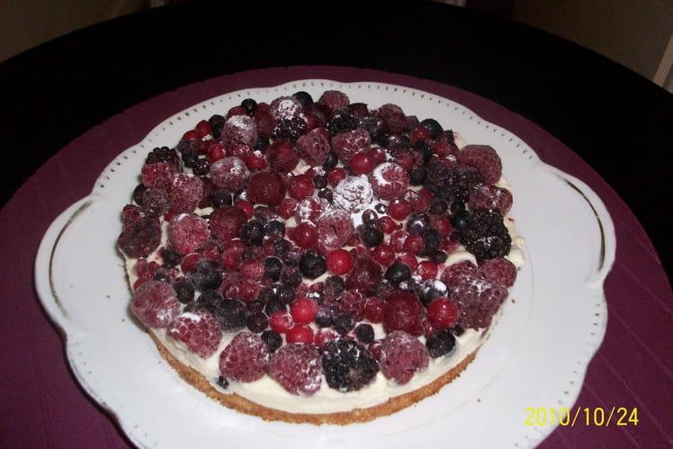 Gâteau macaron au flan et aux fruits
