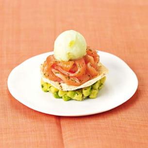mille-feuille de saumon fumé, sorbet citron vert