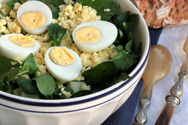 recette de salade de cresson aux ufs et sa vinaigrette moutard e la recette facile. Black Bedroom Furniture Sets. Home Design Ideas