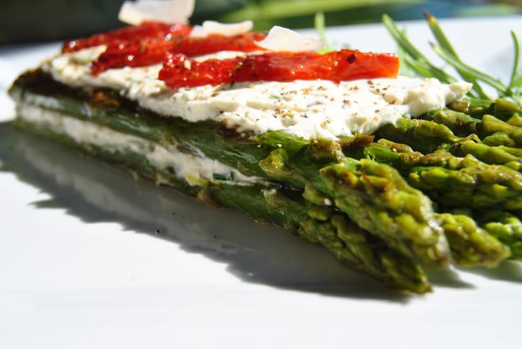 Recette de milles feuilles d 39 asperges vertes au ch vre - Cuisiner les asperges vertes ...
