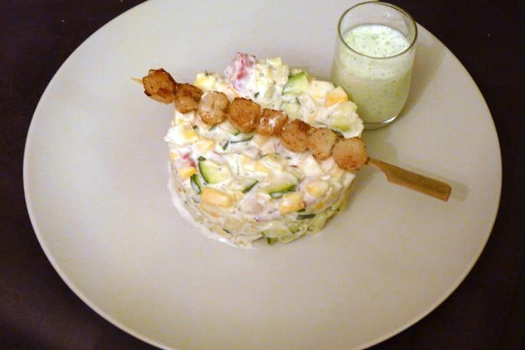 Brochettes de Saint Jacques sur salade de courgettes et radis