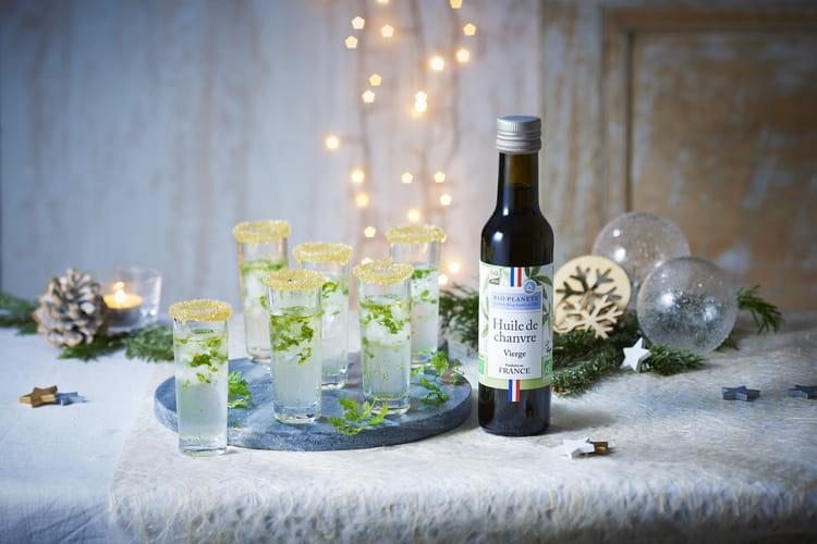 Shoot de gin glacé à l'huile de chanvre et cerfeuil par Bio Planète