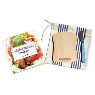 kit apéro tartines : carnet de recettes, planchette en bois et couteau opinel
