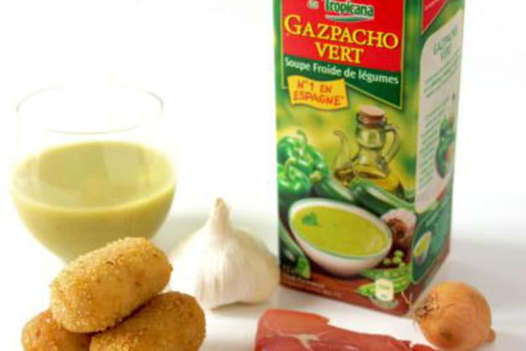 Mon Gazpacho Vert Alvalle et ses croquettes de jambon Serrano