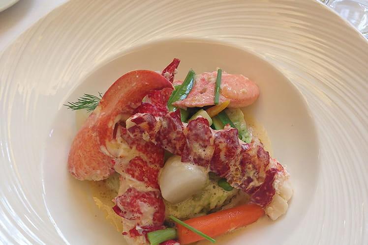 Risotto de homard breton aux légumes verts, jeunes légumes