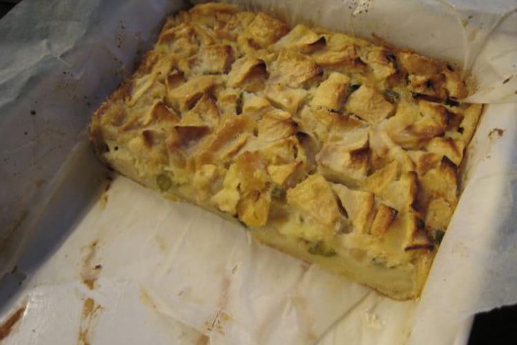 Clafoutis pommes, abricots secs, pistaches