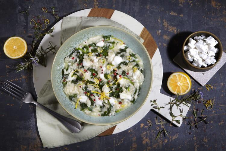 Risotto vegan aux épinards et Violife