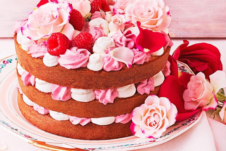 Gâteau framboise et rose