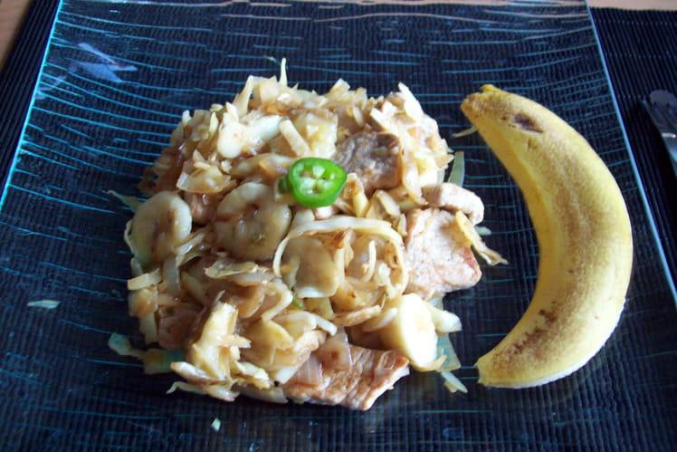 Porc aux bananes et chou