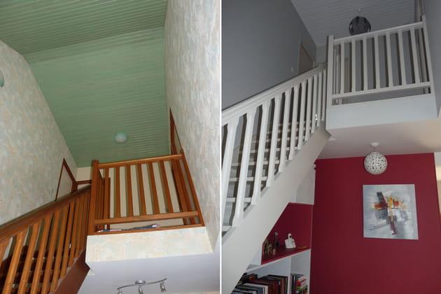 La cage d'escalier : avant-après