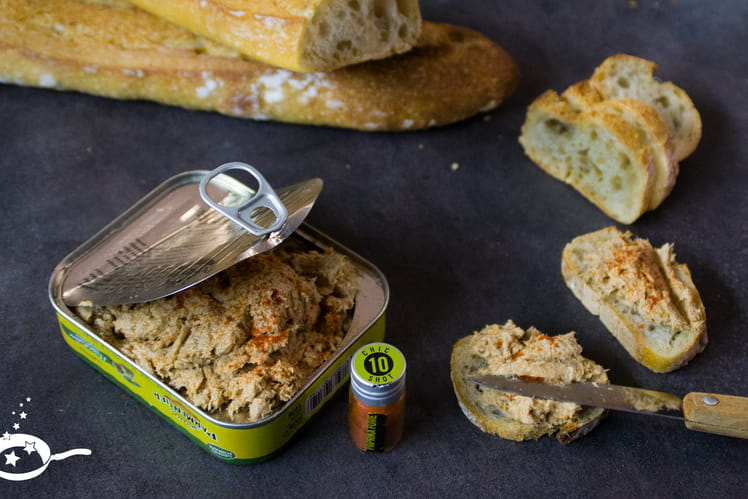 Tartinade sardines, fromage frais et paprika fumé