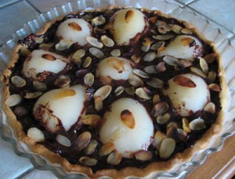 recette de tarte aux poires chocolat et amandes effil 233 es la recette facile