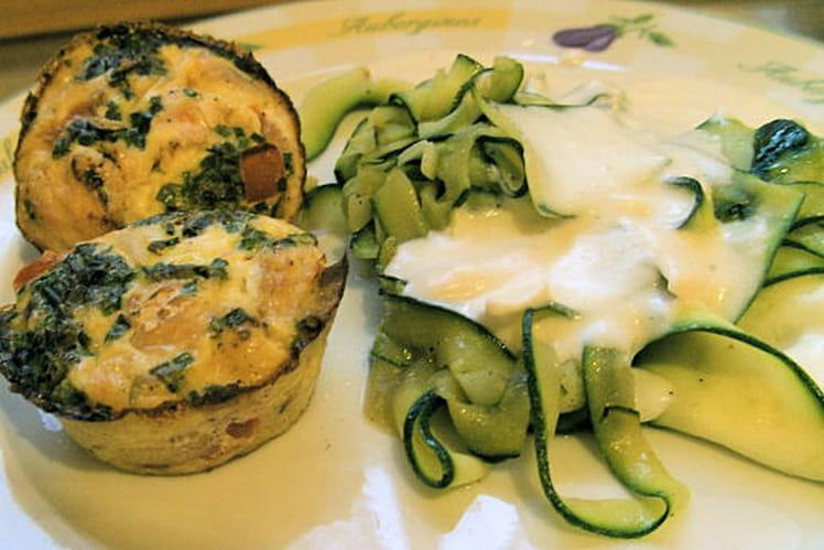 Clafoutis saumon-tomates et tagliatelles de courgette