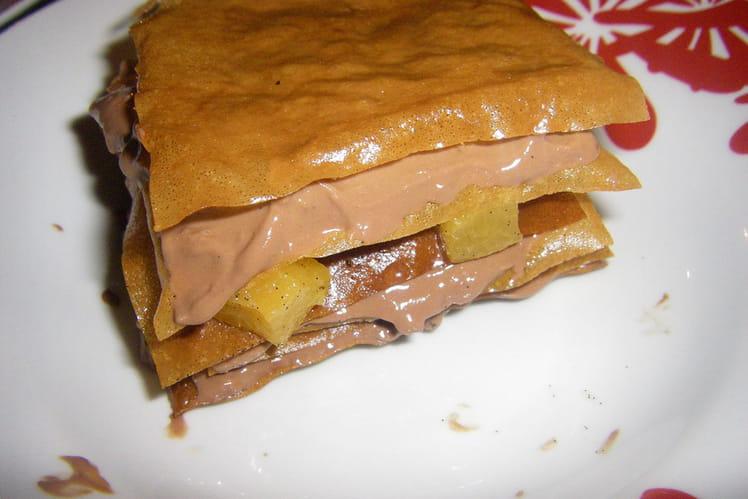 Mille-feuille croustillant chocolat-mangue