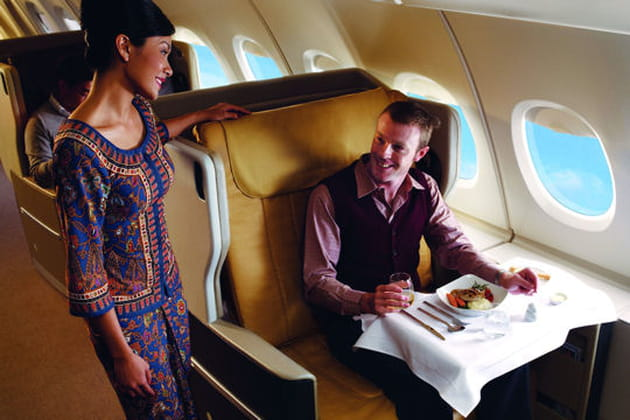 Nappe blanche dans la classe affaire de Singapore Airlines