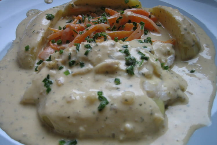 Filet de turbot sauce échalote, crème à la laitance