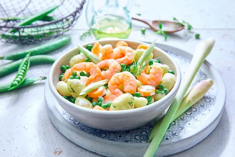 Crevettes, gnocchi, petit pois et gingembre