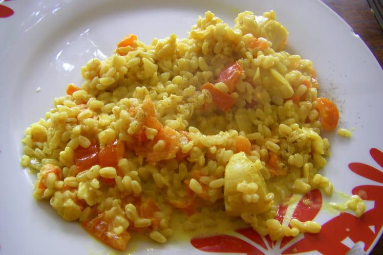 Blésotto de Saint-Jacques au curry et à la tomate