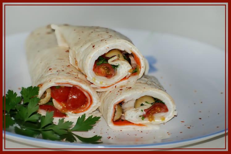 Wraps au surimi et tomates cerises
