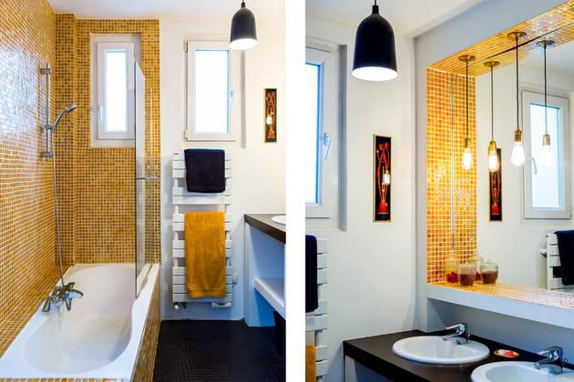 Une salle de bains dorée
