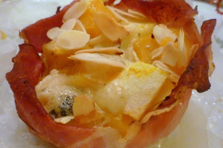 Paniers de jambon de la forêt noire au butternut, comté, roquefort, pommes granny et amandes