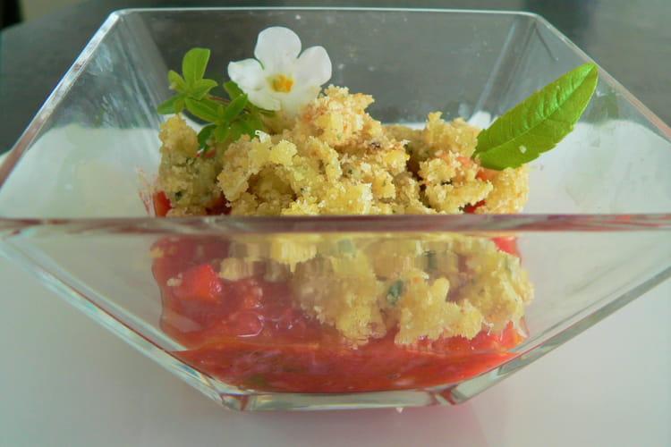 Crumble de fromage et sa compotee de fraises