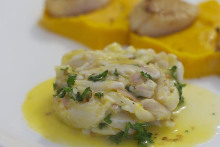 Saint-Jacques, maigre et purée de butternut