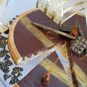tarte chocolat au lait caramel et cacahuète